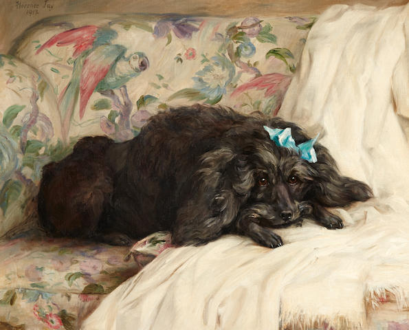 Florence Jay (British, 20th Century) Recumbent Poodle 21 7/8 x 27 1/8in. (55.5 x 69.0cm.)