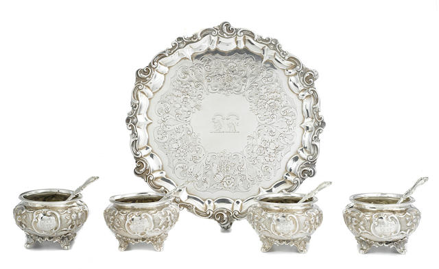 A Victorian  sterling silver five-piece part table suite by George John Richards, London, 1848