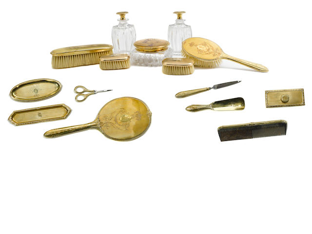 A Norma Shearer assembled 14K yellow gold vanity set