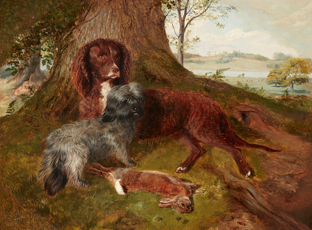 British School, 19th century Red Setter and Skye Terrier at rest in a deer park 18 3/4 x 25in. (47.6 x 63.5cm.)