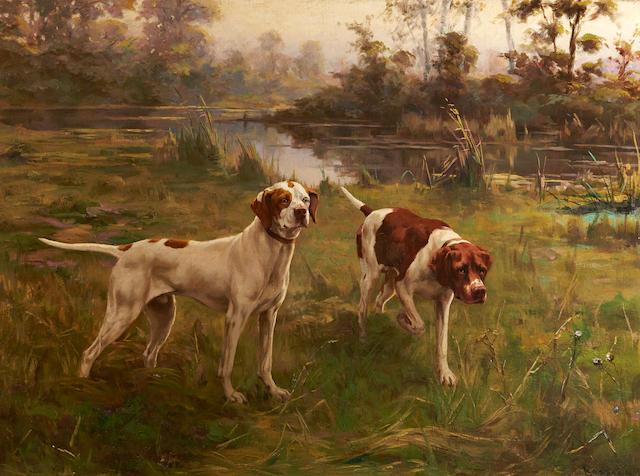 Percival Leonard Rosseau (American, 1859-1937) Early Morning, Pointers 21 1/4 x 28 3/4in. (54.0 x 73.0cm.)