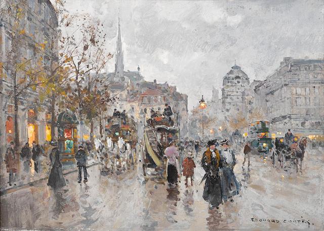 Edouard Henri Leon Cortès (French, 1882-1969) La Place St. Michel 13 x 18in (33 x 45.7cm)