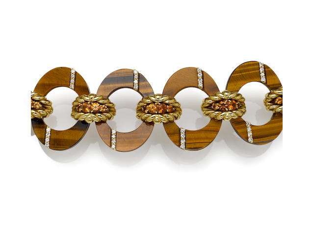 A tigers eye, orange garnet and diamond bracelet