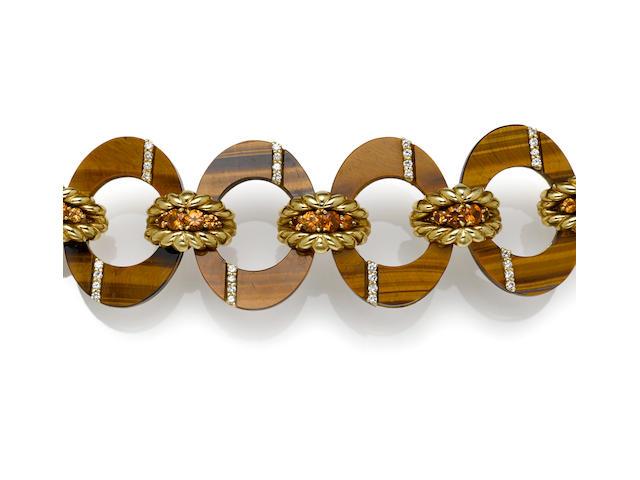 A tigers eye, orange garnet and diamond bracelet