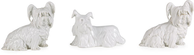 A pair of Royal Vienna porcelain Skye Terriers, 20th century