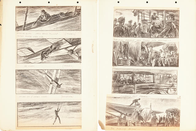 A storyboard book for Billy Wilder's The Spirit of St. Louis