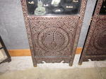A carved tixi-style lacquered four-panel wood floor screen with colored stone overlay decoration 20th century