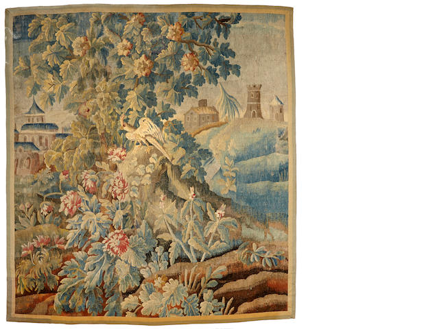 A Flemish Baroque verdure tapestry fragmentlate 17th/early 18th century