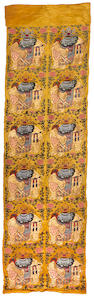 A large yellow ground silk brocade panel Qing Dynasty