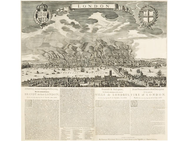FIRE OF LONDON. A True Pourtraict with a Brief Description Of that Deplorable Fire of London. Befallen the 12, 13, 14, 15, and 16 Sept. 1666. Amsterdam: Marcus Willemsz Doornick, [1666-70].