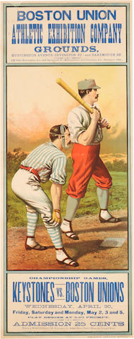 BASEBALL. Boston Union Athletic Exhibition Company Grounds ... Championship Games, Keystones vs. Boston Unions, Wednesday, April 30.... Buffalo, NY: John B. Sage, [1884].