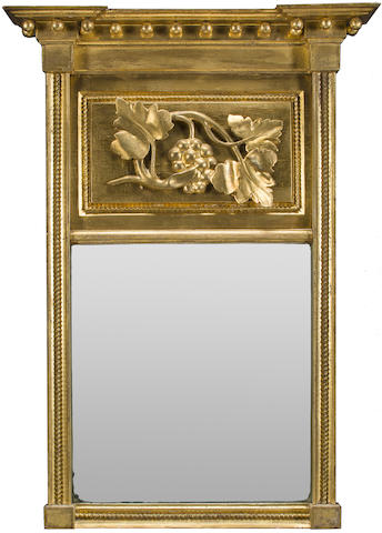 A Classical carved giltwood mirror bearing label of George Fisher Woodstock VT, mid-19th century