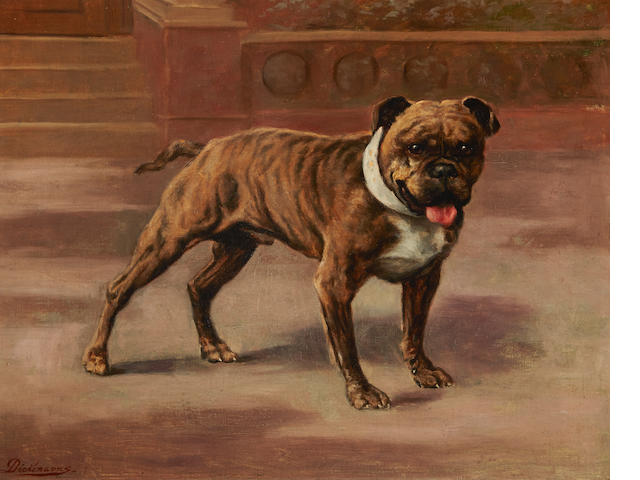 British School, 19th century On Guard, an English bulldog 14 x 18in. (35.5 x 45.8cm.)