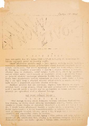 LIBERATION OF DACHAU. V NOVÝ ŽIVOT. Dachau: May 1, 1945. No 1.