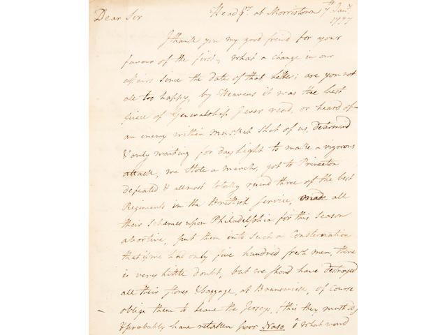"BATTLE OF PRINCETON. MOYLAN, STEPHEN. 1737-1811. Autograph Letter Signed (""Stephen Moylan""),"