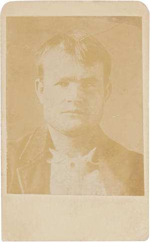 CASSIDY, BUTCH, alias. 1866-1908 or 1937. Albumen print carte-de-visite police photograph, issued 1898/99 from an 1894 photograph taken at Wyoming Territorial Prison, on [Pinkerton National Detective Agency] mount,