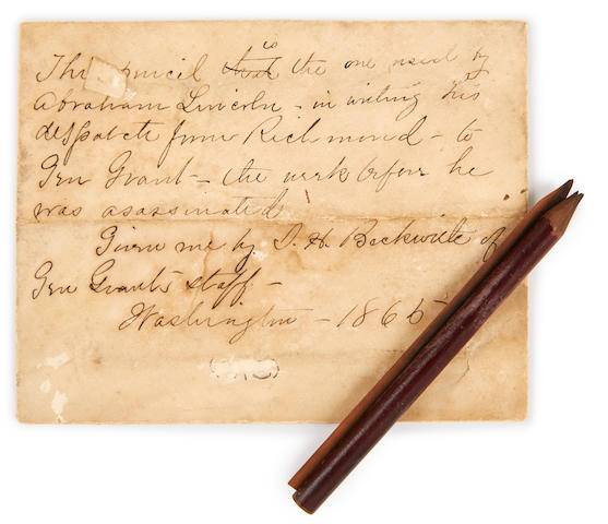 [LINCOLN, ABRAHAM. 1809-1865.] Wooden pencil with period endorsed envelope,