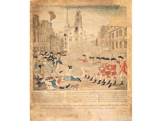 REVERE, PAUL. 1735-1818. The Bloody Massacre perpetrated in King-Street Boston on March 5th, 1770.... Boston: Engraved, printed and sold by Paul Revere, [but printed by Edes & Gill around March 28, 1770].