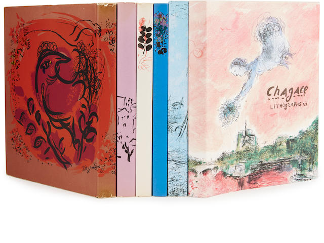 CHAGALL, MARC. 1887-1985. The Lithographs of Chagall. Monte Carlo: André Sauret. Boston Book and Art Shop. New York: Crown, [1960-86.]