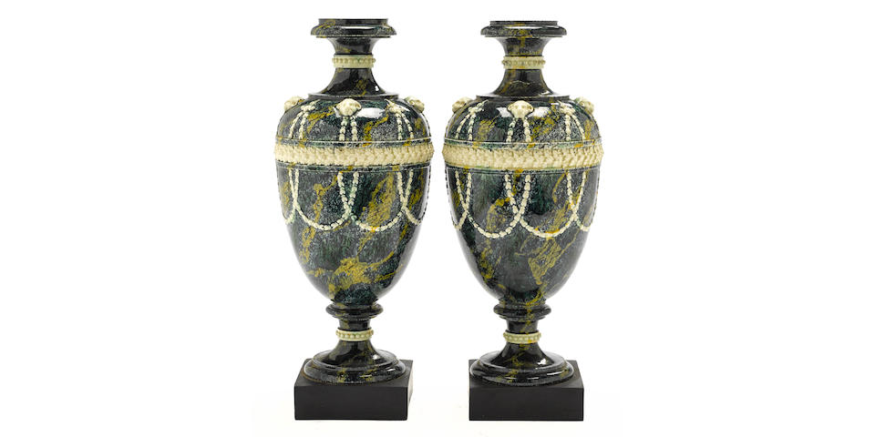 A pair of Wedgwood porphyry glazed white terracotta vases fourth quarter 18th century