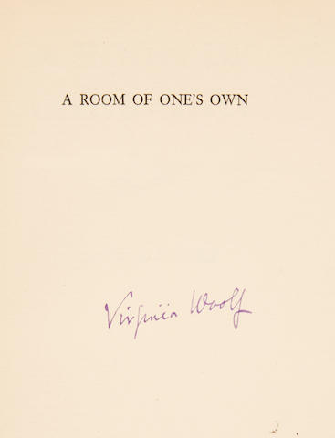 WOOLF, VIRGINIA. 1882-1941. A Room of One's Own. New York: The Fountain Press. London: The Hogarth Press, 1929.