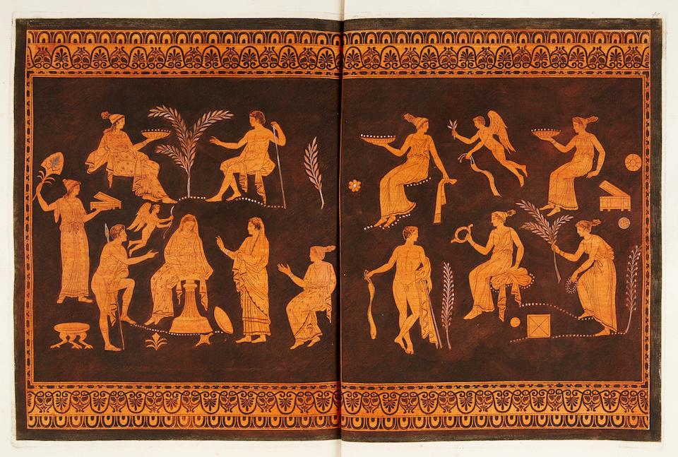 HAMILTON, WILLIAM and PIERRE FRANÇOIS HUGUES D'HANCARVILLE. Collection of Etruscan, Greek, and Roman Antiquities from the Cabinet of the Hon. W. Hamilton his Brittanick Majesty's Envoy Extraordinary at the Court of Naples; Antiquités Etrusques, Grecques, et Romaines Tirées du Cabinet de M. Hamilton.... Naples: [François Morelli], 1766-67 [but 1766-76].