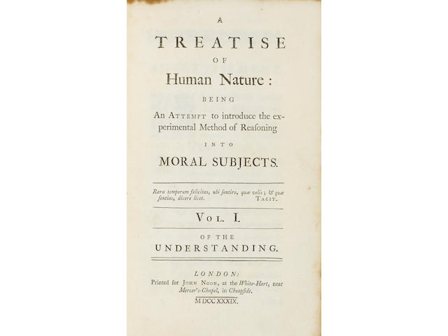 [HUME, DAVID. 1711-1776.] A Treatise of Human Nature: Being an Attempt to Introduce the Experimental Method of Reasoning into Moral Subjects. Vol I [-II]. London: John Noon, 1739.