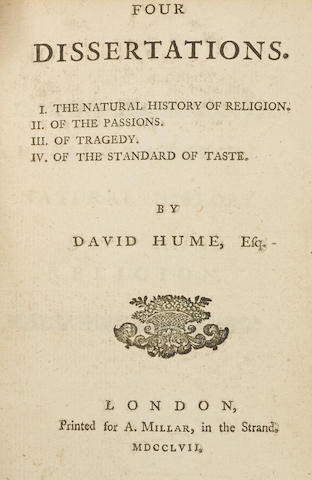 HUME, DAVID. 1711-1776. Four Dissertations. I. The Natural History of Religion. II. Of the Passions. III. Of Tragedy. IV. Of the Standard of Taste. London: A. Millar, 1757.