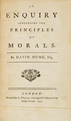 HUME, DAVID. 1711-1776.  An Enquiry concerning the Principles of Morals. London: A. Millar, 1751.