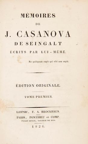 CASANOVA, GIACOMO GIROLAMO. 1725-1798. Mémoires de J. Casanova de Seingalt écrits par lui-même. Leipzig: F.A. Brockhaus. Paris: Ponthieu, 1826-1827 (vols 1-4) / Paris: Heideloff et Campé, 1832 (vols 5-8) / Brussels: [no publisher], 1838 (vols 9-12).