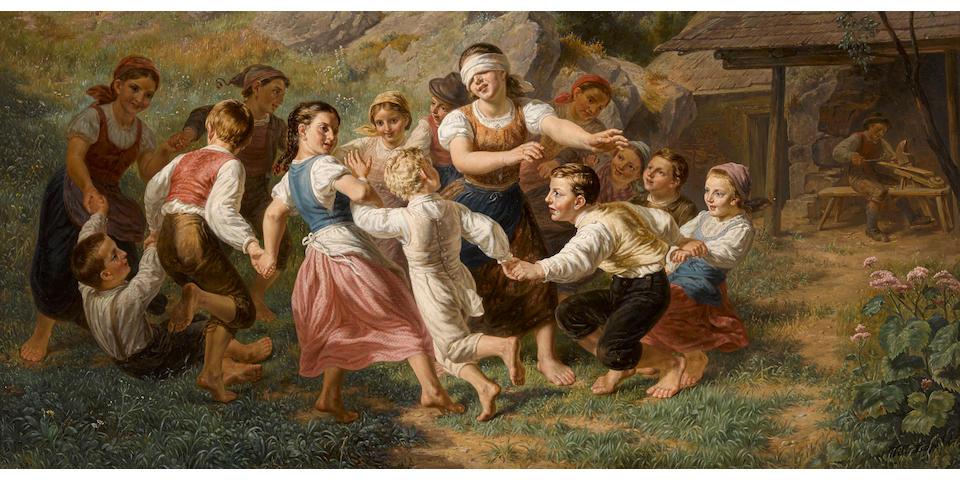 Leopold Till (Austrian, 1830-1893) Blind man's bluff 22 1/4 x 34in