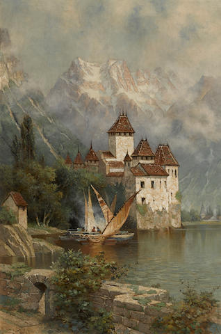 Edwin Deakin (American, 1838-1923) Castle of Chillon, Switzerland, 1897 30 x 20in