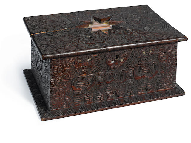 Rare Maori Sewing Box by James Edward Little (1876-1953), New Zealand