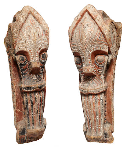 Pair of Toba Batak Architectural Heads, Sumatra Island, Greater Sunda Islands