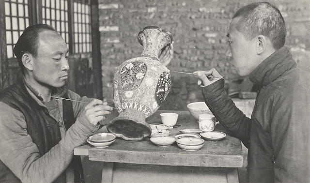 DECORATIVE ARTS—CHINA. Group of 10 silver print photographs, 3 1/4 by 5 1/2 inches through 3 3/8 by 4 1/2 inches, [Beijing, 1910-1929],