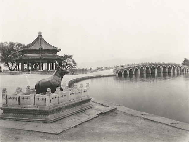 ARCHITECTURE—BEIJING. Group of 10 silver print photographs, 9 5/8 by 7 1/2 inches, 6 1/2 by 8 1/4 inches, & 1 photograph 5 1/2 by 3 1/4 inches, [Beijing, 1910-1929],