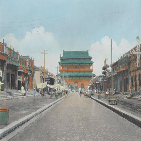 BEIJING—TINTED PHOTOGRAPHS. Group of 5 hand-tinted silver print photographs, approximately 6 by 8 inches, 3 with Camera Craft stamp and with title on verso, Beijing, [1910-1929],