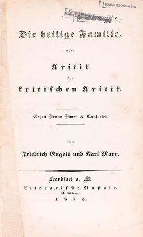 Bonhams Engels Friedrich Karl Marx Die Heilige Familie