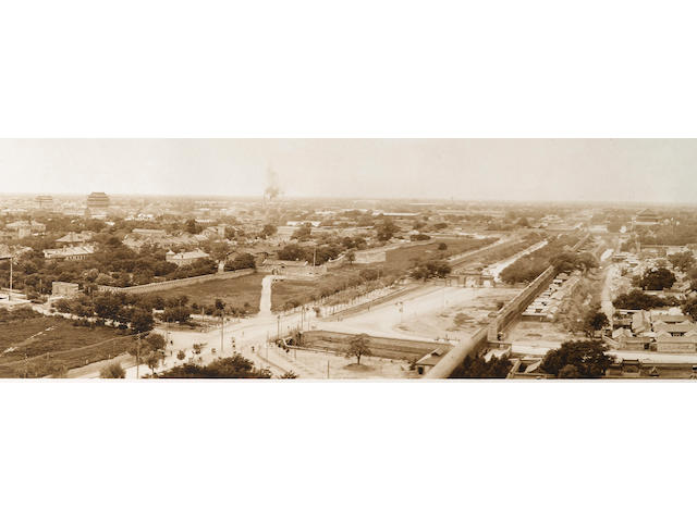 """BEIJING—PANORAMA. Silver print photograph, 7 1/2 by 71 inches, titled """"Birds Eye View of Peking,"""" and with attribution in the negative, [Beijing, 1910-1929],"""