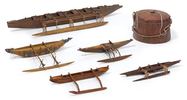 Five Model Outrigger Canoes, together with a Tokelau Atoll Lidded Container