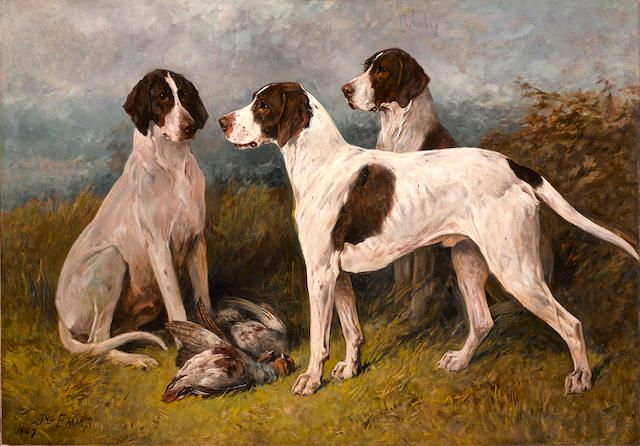 John Emms (British, 1843-1912) Ruby & companions 31 x 44in. (78.7 x 111.8cm.) unframed