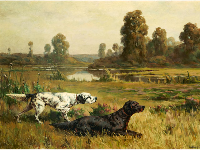 Percival Leonard Rosseau (American, 1859-1937) Gordon and English Setters in the field 21 1/4 x 29 1/4in. (54 x 74.2cm.)