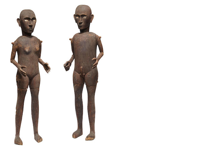 Toraja Ancestral Female and Male Figures, South Sulawesi