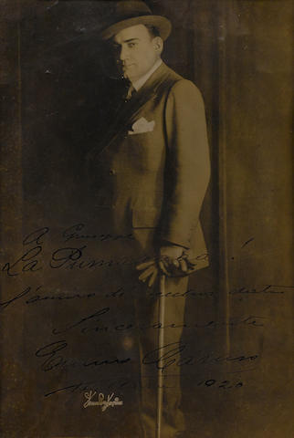 "CARUSO, ENRICO. 1873-1921. 1. Photograph Signed (""Enrico Caruso""), 12 by 8 inch silver gelatin print by Strauss-Peyton,"