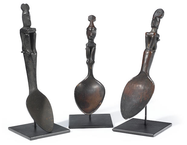 Three Bontok or Ifugao Figural Spoons, Luzon Island, Philippines