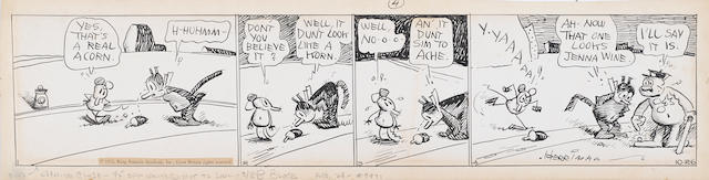 HERRIMAN, GEORGE. 1880-1944. Original 4-panel daily Krazy Kat strip, 114 x 505 mm, dated October 26, [1933],