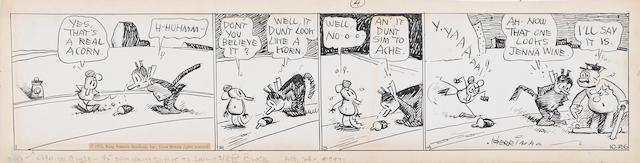 HERRIMAN, GEORGE. 1880-1944. Original 4-panel daily Krazy Kat strip, 114 x 505 mm, dated October 26, [1933],