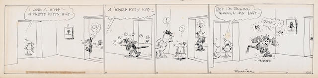 HERRIMAN, GEORGE. 1880-1944. Original 4-panel daily Krazy Kat strip, 114 x 505 mm, June 1 [1932],