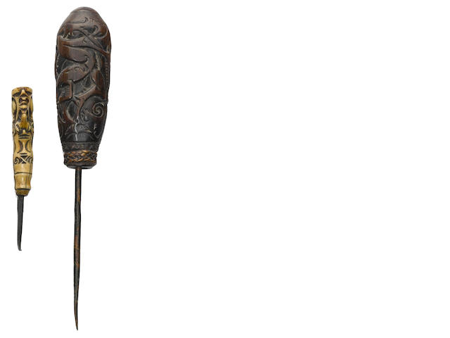 Two Dayak Awls, probably Kalimantan, Borneo Island