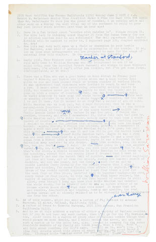 "SAROYAN, WILLIAM. 1908-1981.  Typed Letter Signed (""William Saroyan"") with holograph corrections, 1 p, legal folio, June 5, 1978, Fresno, California,"